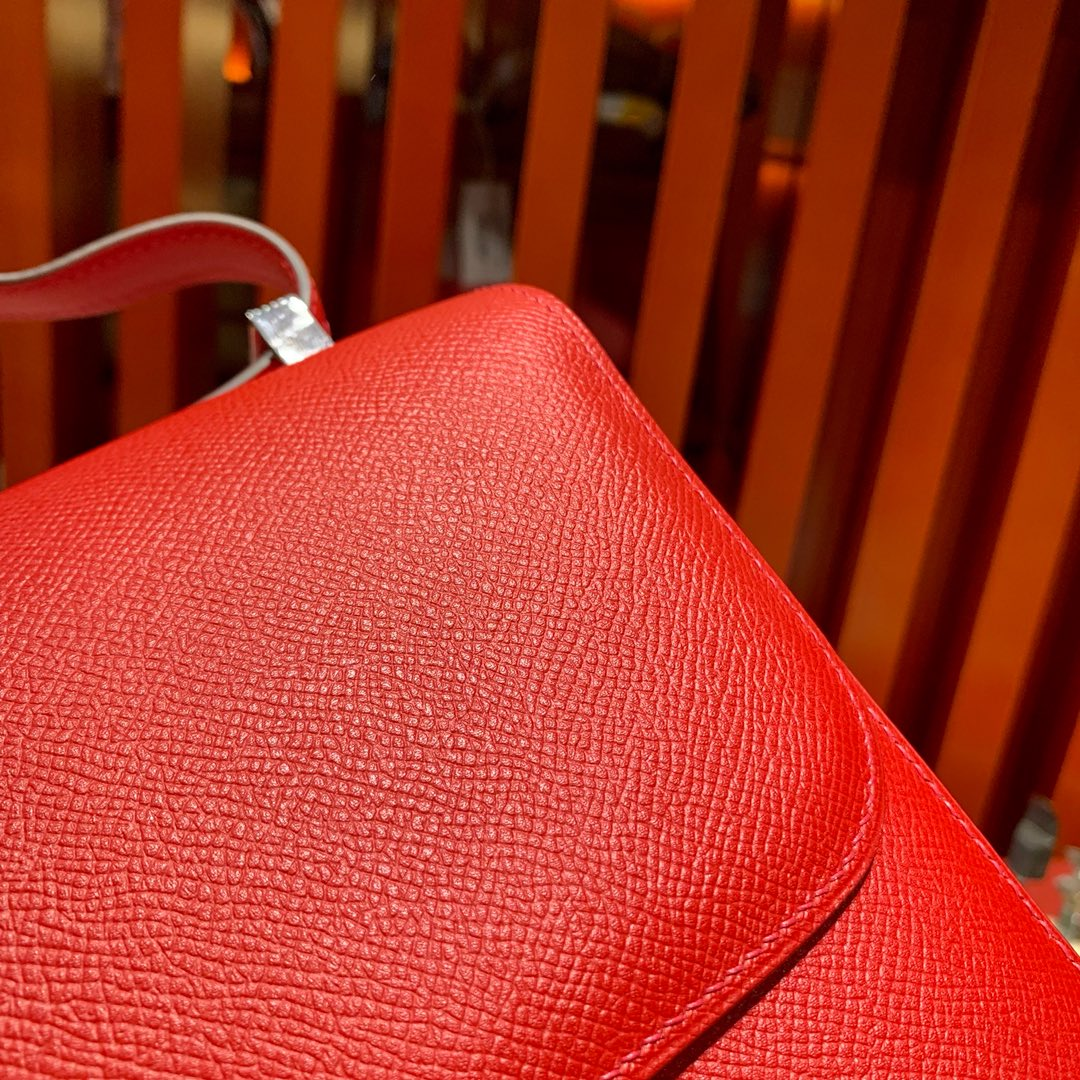 爱马仕空姐包价格 Hermes Constance24CM 大红色Epsom皮 银扣