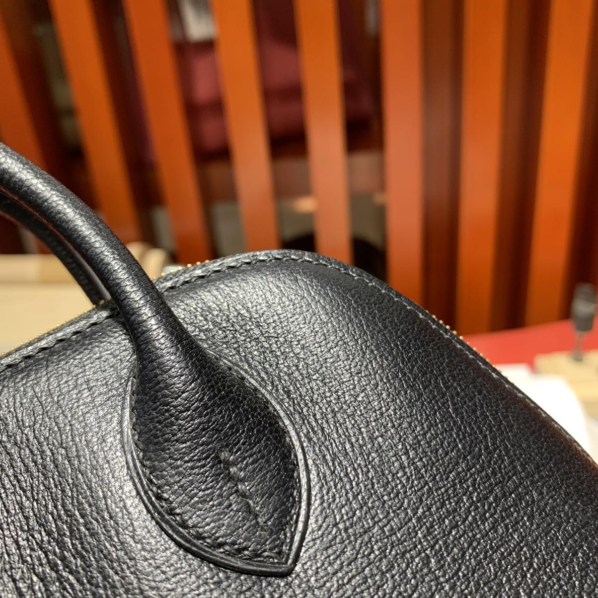 爱马仕迷你保龄球包 Hermes进口山羊皮Mini Bolide18CM 黑色 金扣