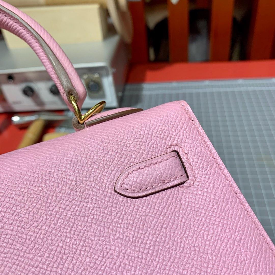 现货 爱马仕Kelly包包25CM Hermes锦葵紫Epsom皮凯莉包外缝 金扣