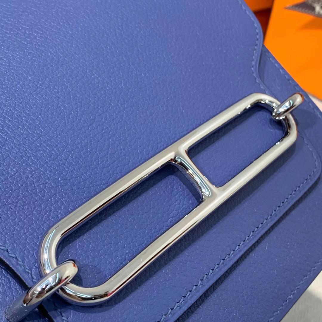 客定 爱马仕猪鼻子包 Hermes Roulis19CM 7E明蓝色Evercolor皮 银扣