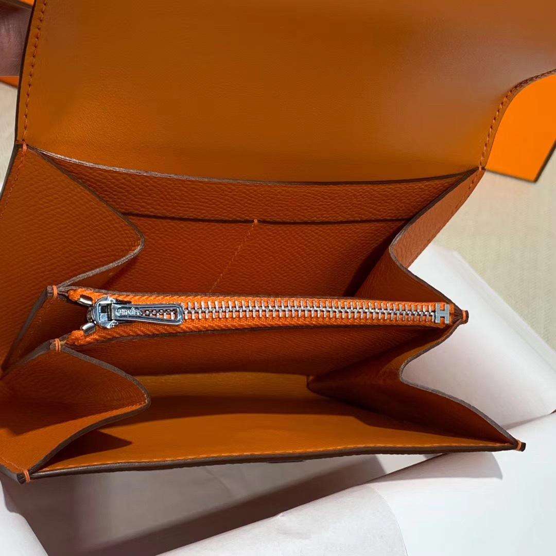 爱马仕康斯坦钱包 Hermes橙色掌纹牛皮609Constance短款钱夹卡包 银扣