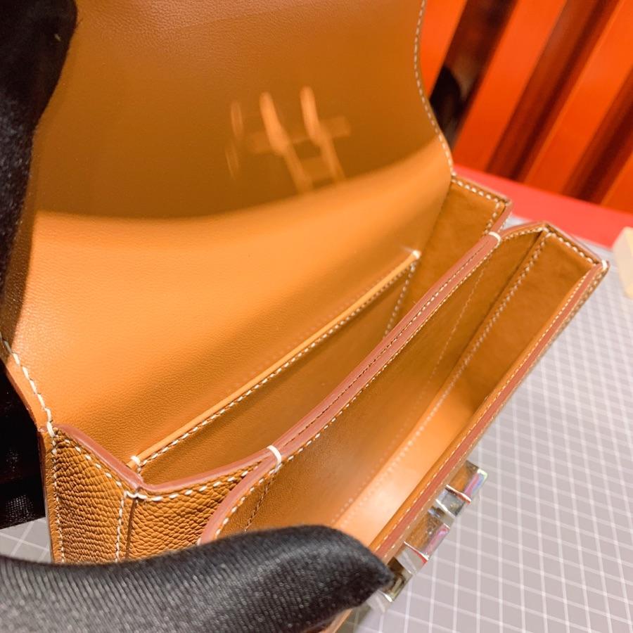 爱马仕新款女包 Hermes Mosaique17CM 金棕色Epsom牛皮马赛克包 银扣