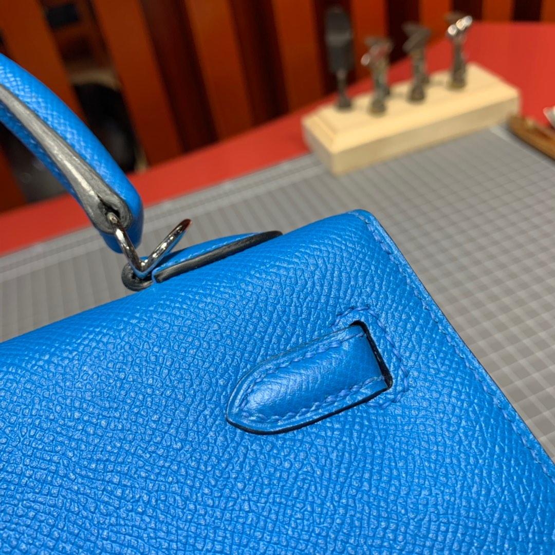 现货 Hermes女包批发 爱马仕坦桑尼亚蓝Epsom皮Kelly25凯莉包 银扣