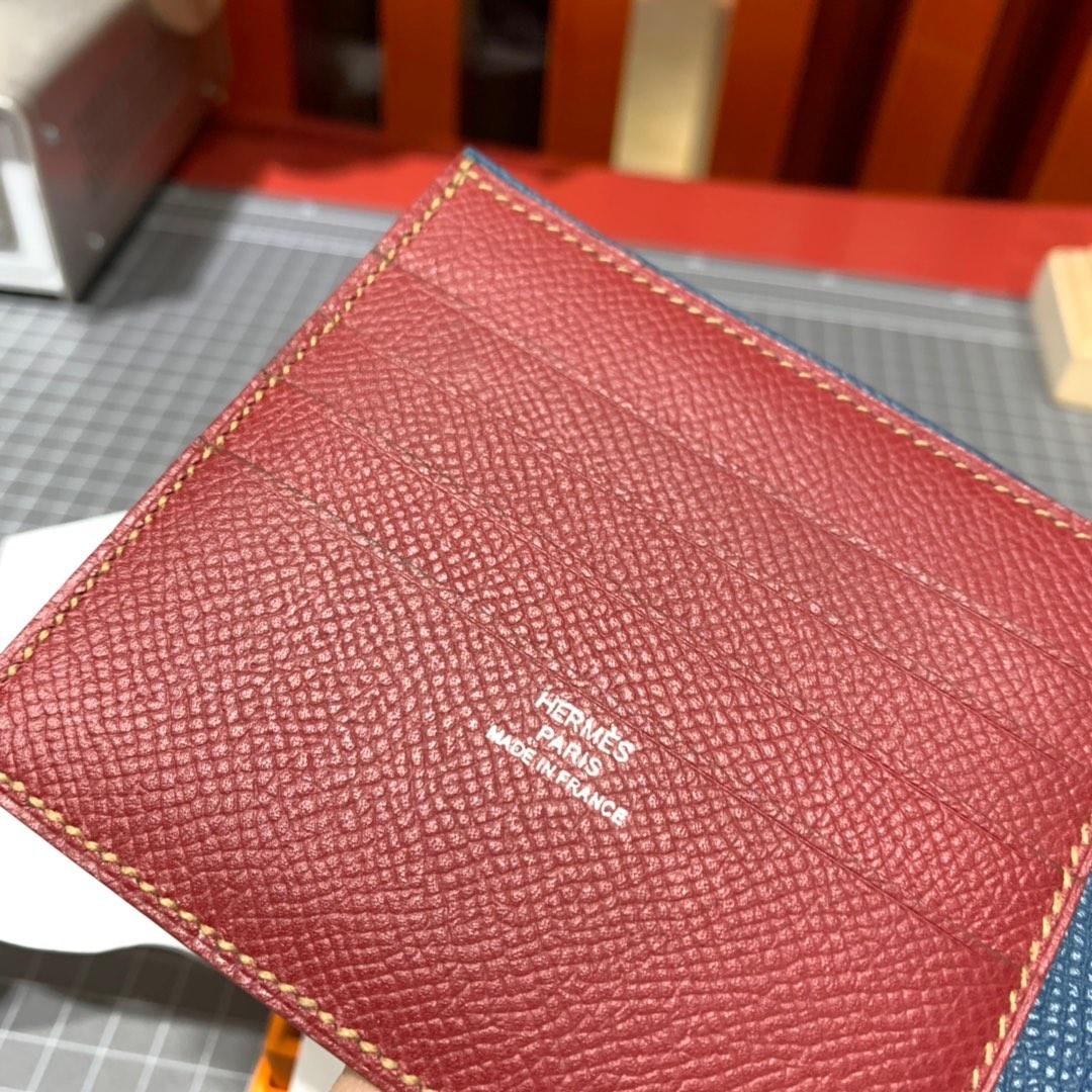 爱马仕钱夹批发 Hermes进口Epsom牛皮colorblock拼色男士短夹卡包