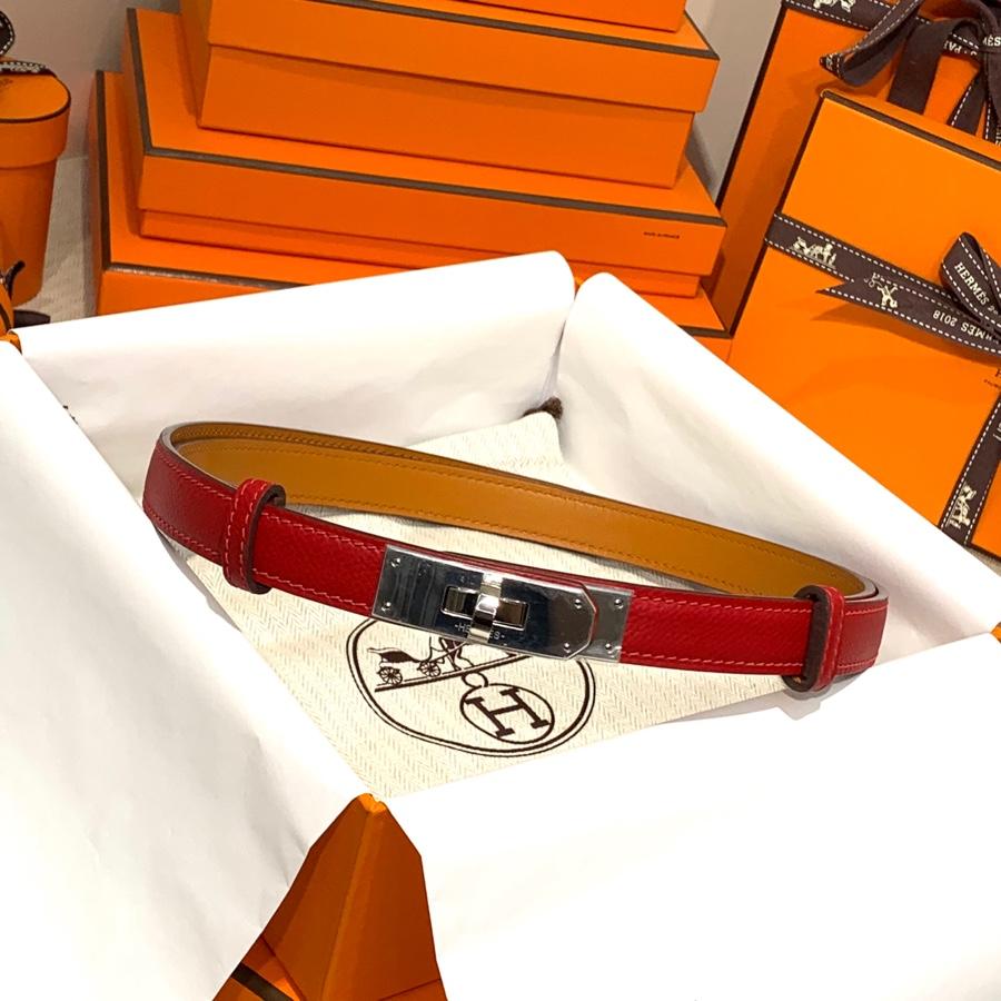 现货 爱马仕Kelly腰带 Hermes掌纹牛皮Q5国旗红凯莉皮带女款 银扣