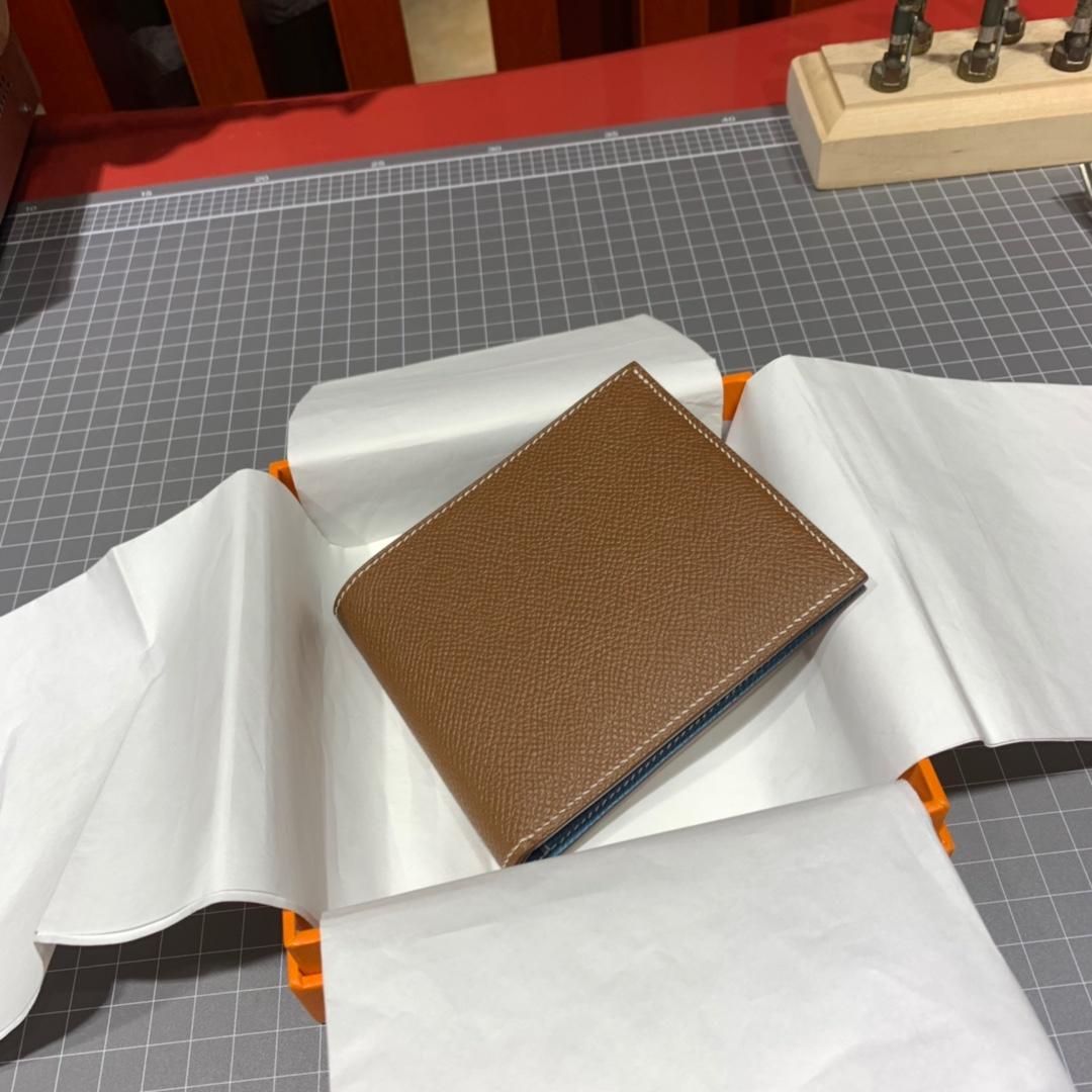 爱马仕男士钱夹 Hermes colorblock拼色掌纹牛皮对折钱包卡包