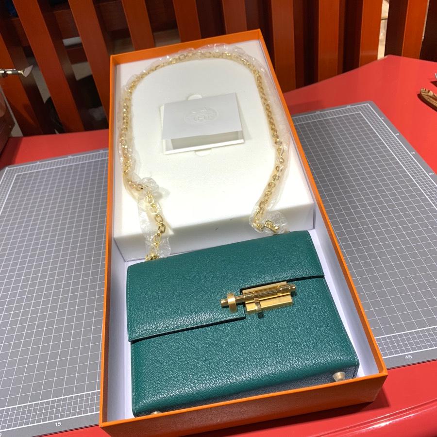 现货 Hermes爱马仕Z6孔雀绿山羊皮手枪包Verrou17CM 最新D刻金扣