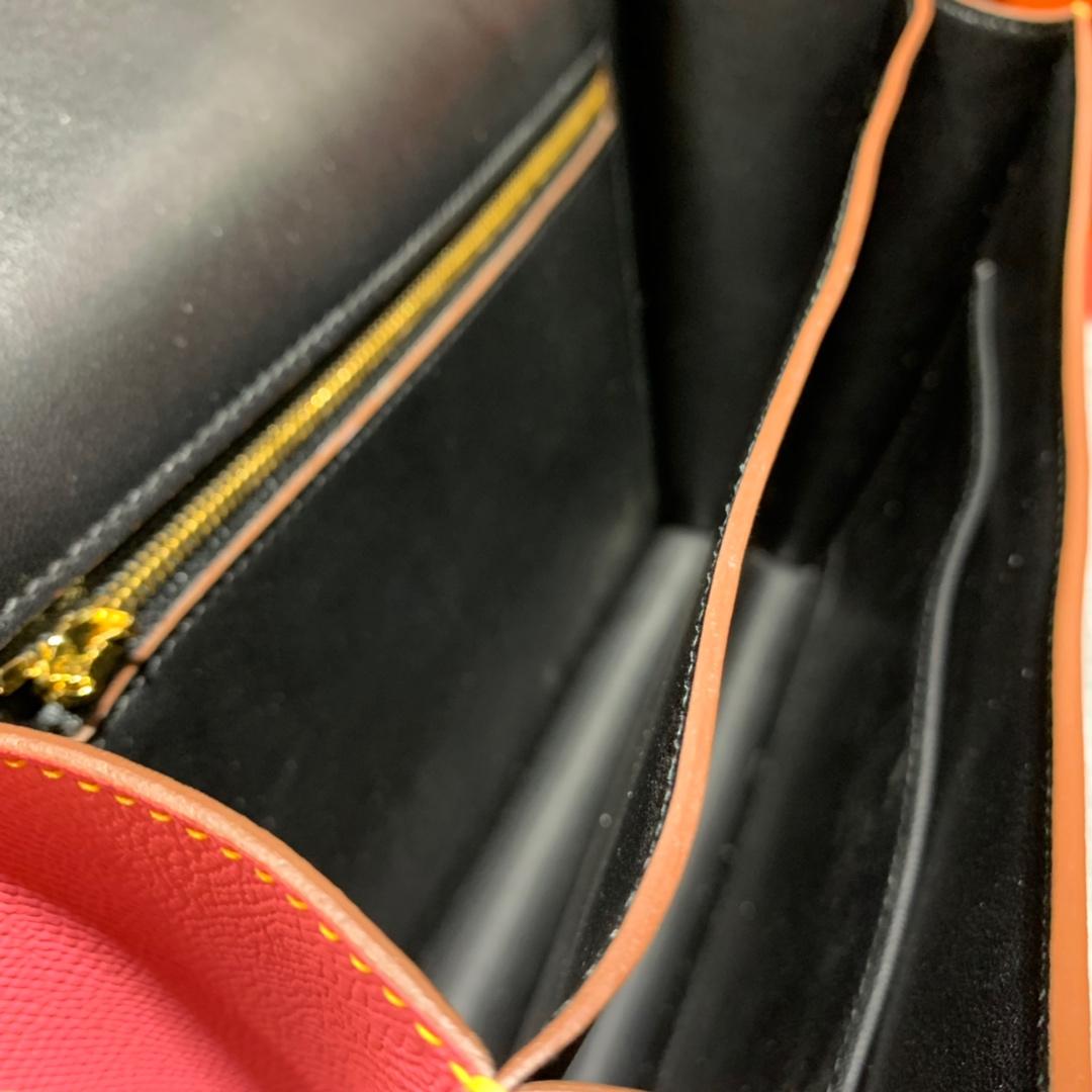 现货 Hermes包包批发 爱马仕唇膏粉内拼黑色掌纹牛皮空姐包Constance24CM 金扣