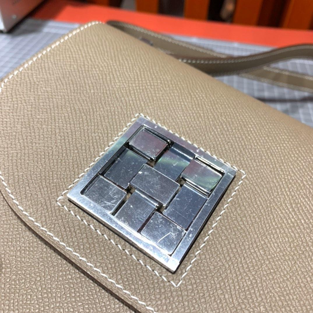 爱马仕包包批发 Hermes Mosaique17CM 大象灰Epsom皮马赛克包 银扣