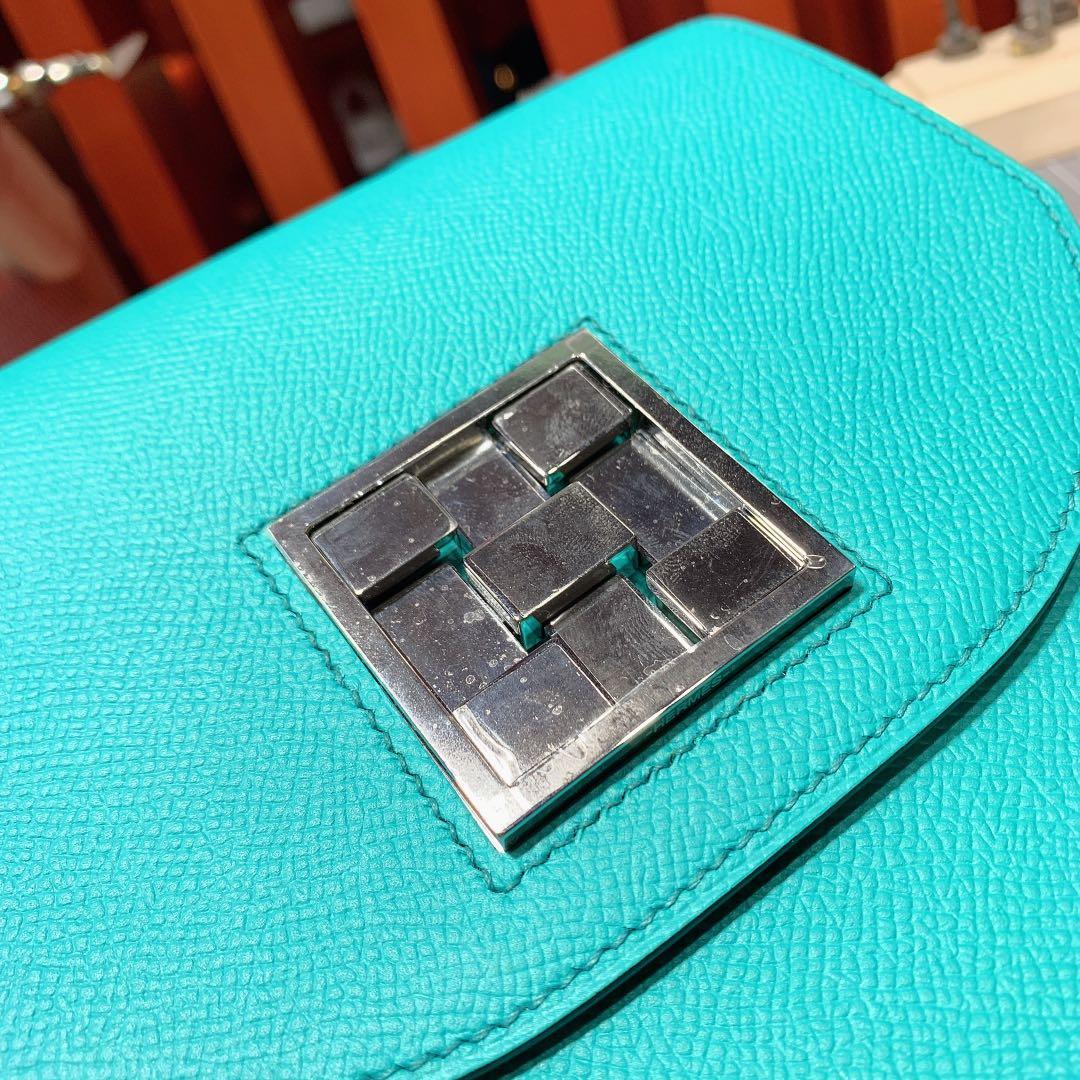 爱马仕马赛克包 Hermes原厂Epsom皮Mosaique17CM 7F孔雀蓝 银扣