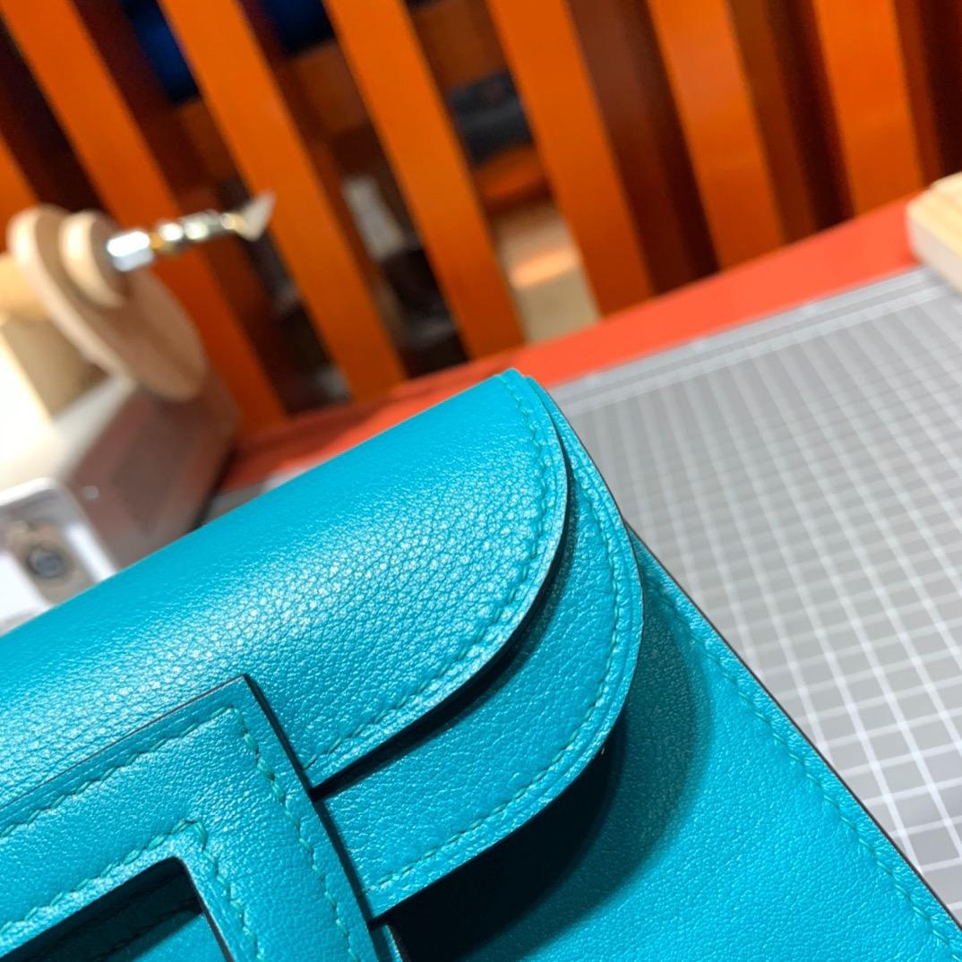 Hermes mini Halzan包包 爱马仕进口Swift牛皮蓝色新款手提女包 银扣