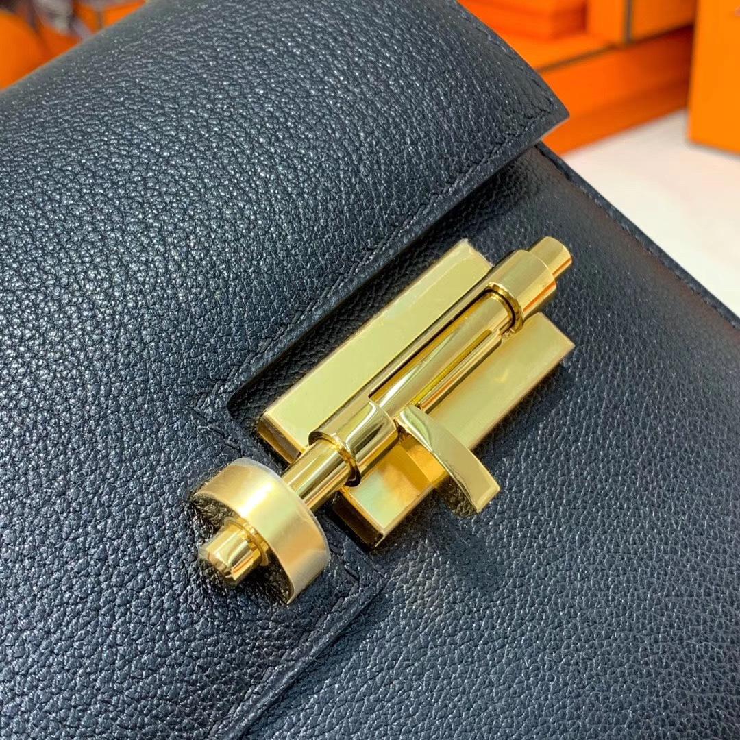 Hermes Verrou17CM 爱马仕黑色顶级山羊皮手枪包链条单肩斜挎女包 金扣