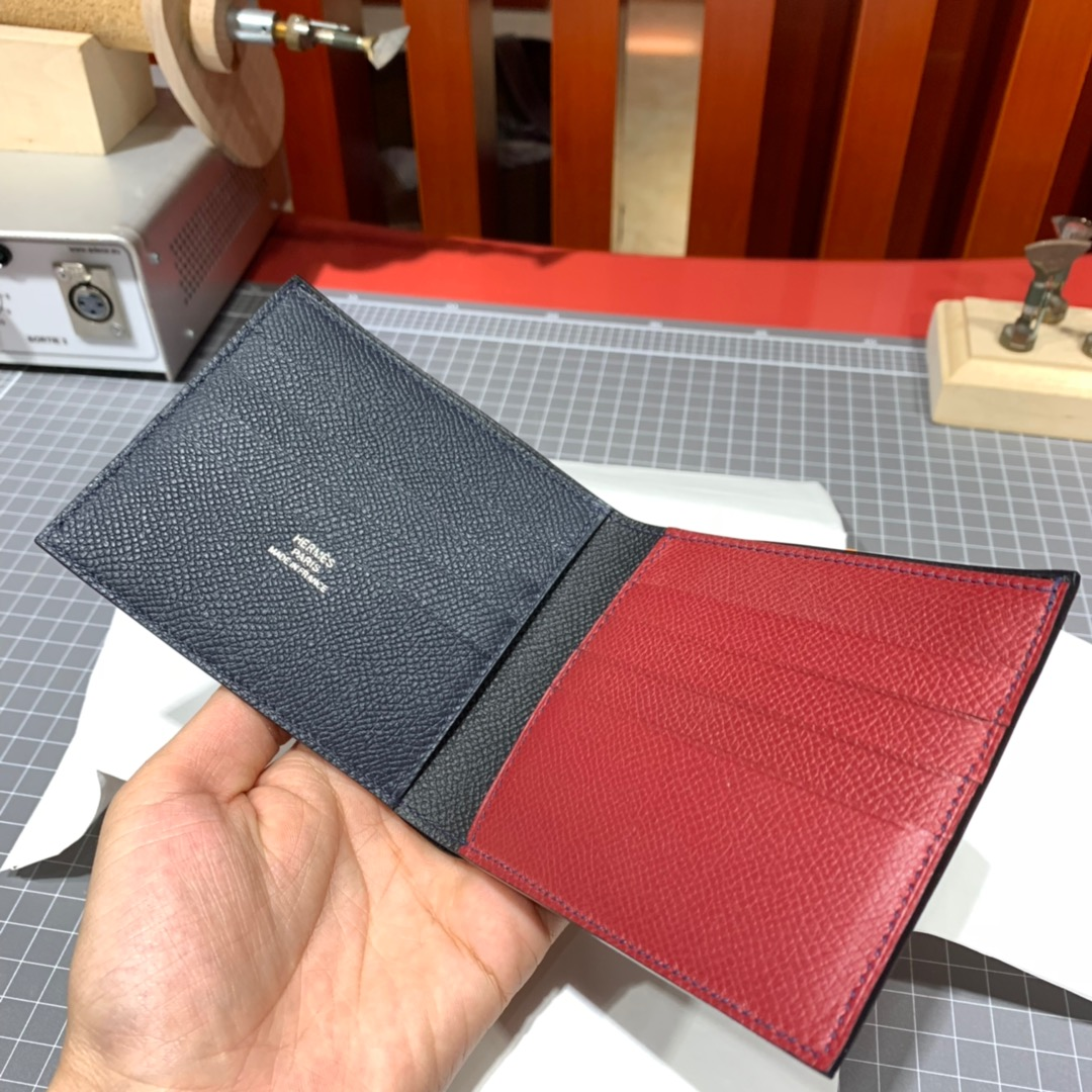 Hermes colorblock Wallet 爱马仕拼色掌纹牛皮男款钱夹短款对折钱包