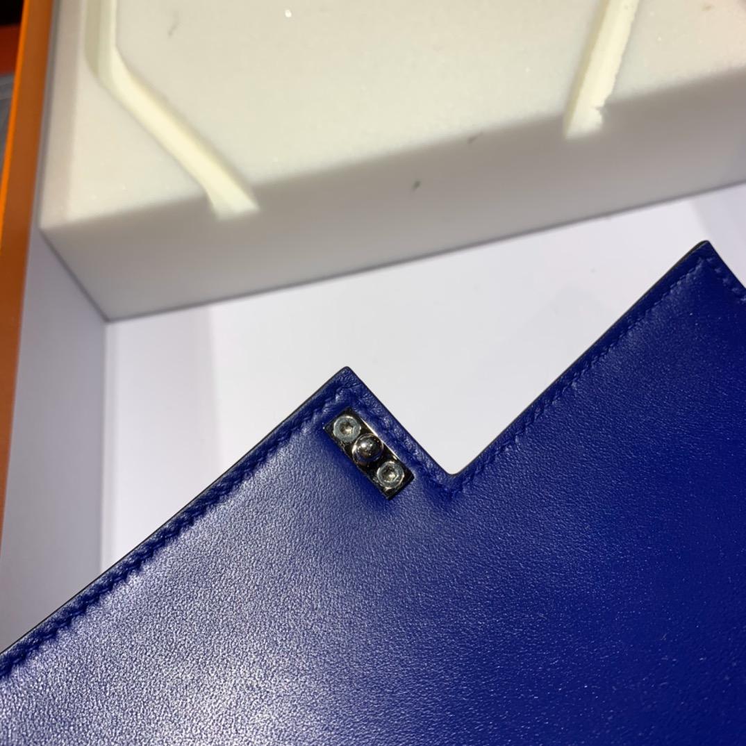 现货 Hermes爱马仕顶级山羊皮手枪包Verrou17CM T7电光蓝 升级银扣