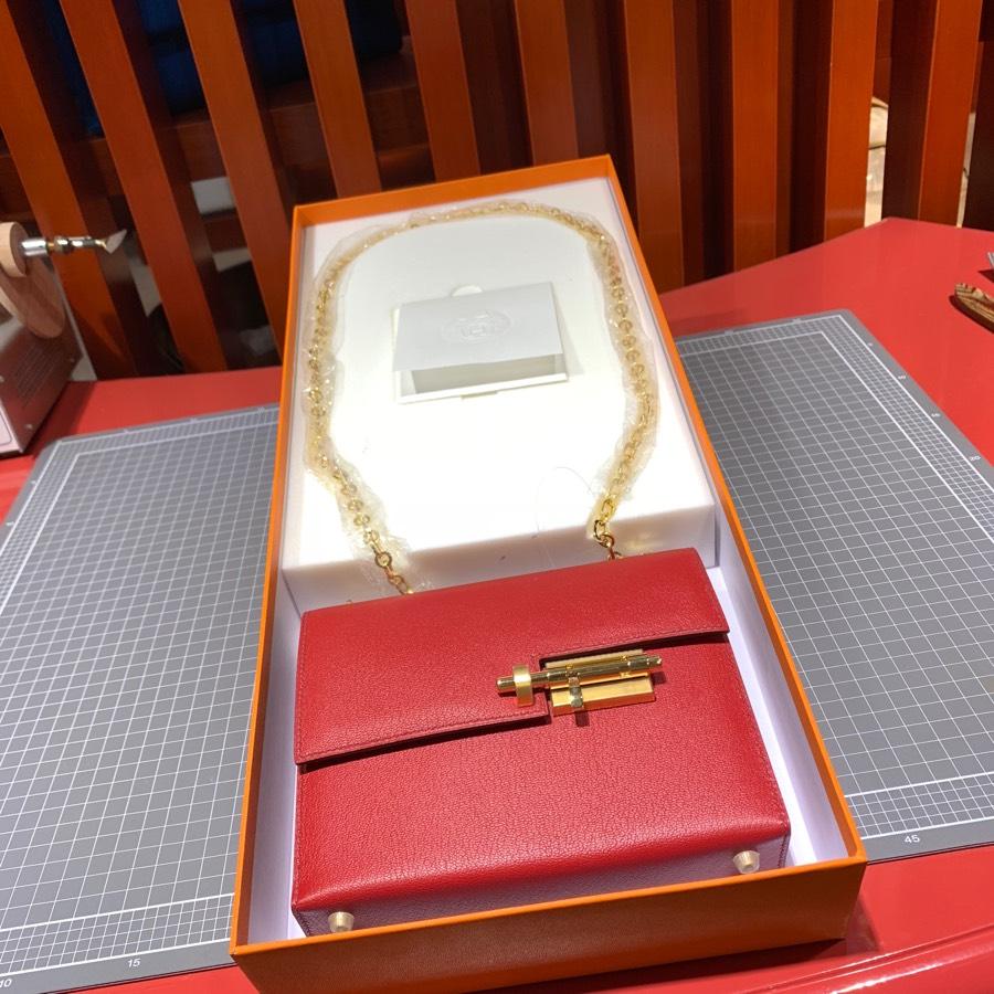 现货 Hermes Verrou17CM 爱马仕Q5国旗红顶级山羊皮手枪包 最新金扣