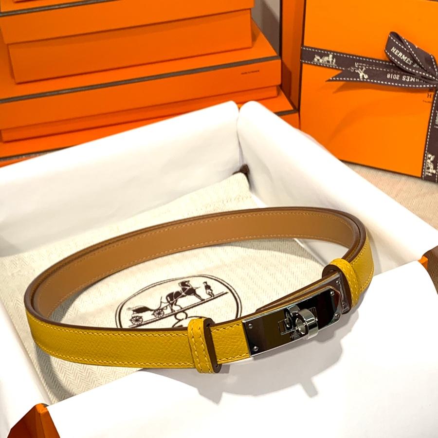 现货 Hermes皮带价格 爱马仕9D琥珀黄Epsom皮Kelly凯莉腰带 银扣