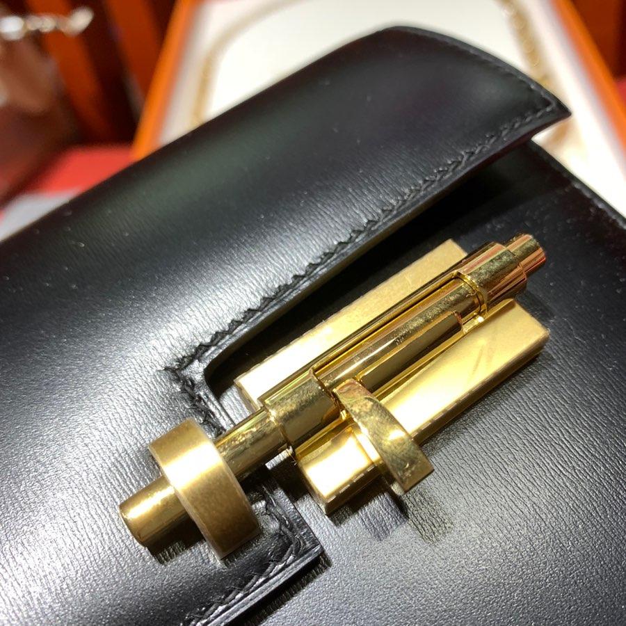 现货 爱马仕单肩女包 Hermes Box牛皮Verrou17CM手枪包 黑色 最新D刻金扣