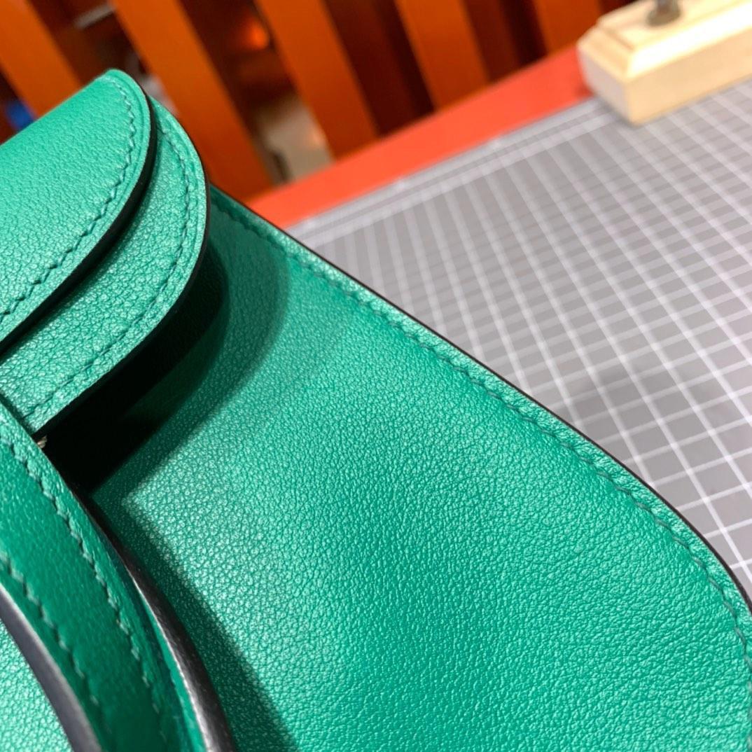 Hermes mini Halzan 爱马仕U4丝绒绿Swift牛皮新款手提斜挎女包