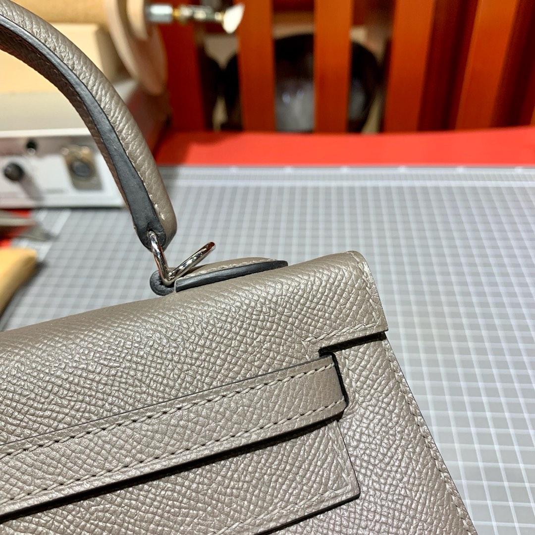现货 爱马仕凯莉包尺寸 Hermes Kelly25cm 铁灰色掌纹牛皮 银扣