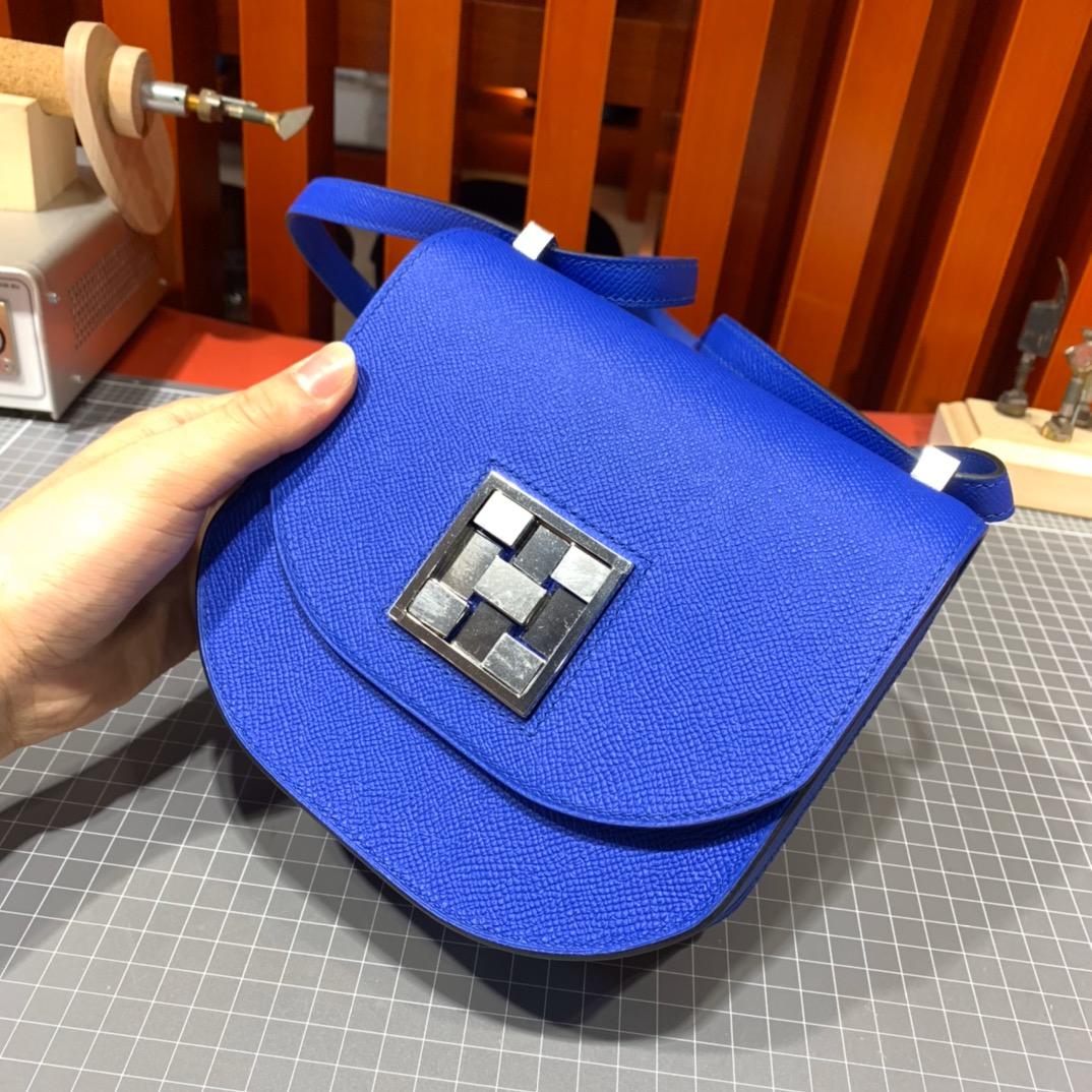 爱马仕女包价格 Hermes Mosaique17CM I7琉璃蓝Epsom皮马赛克包