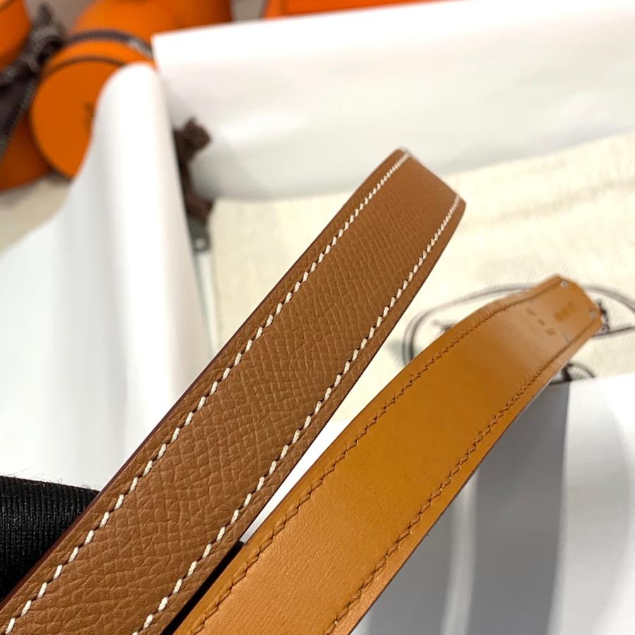 现货 爱马仕女款皮带 Hermes进口Epsom皮Kelly凯莉腰带 金棕色 银扣