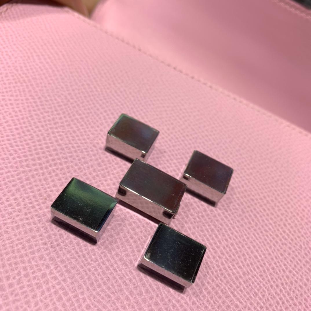爱马仕马赛克包 Hermes Mosaique17cm X9锦葵紫掌纹牛皮斜挎女包 银扣