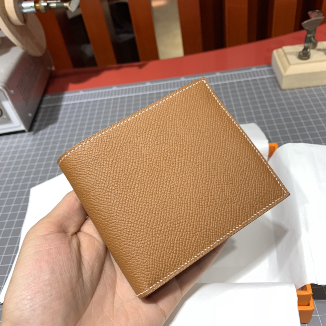 现货 Hermes钱包价格 爱马仕进口Epsom皮拼色男款钱包对折短夹