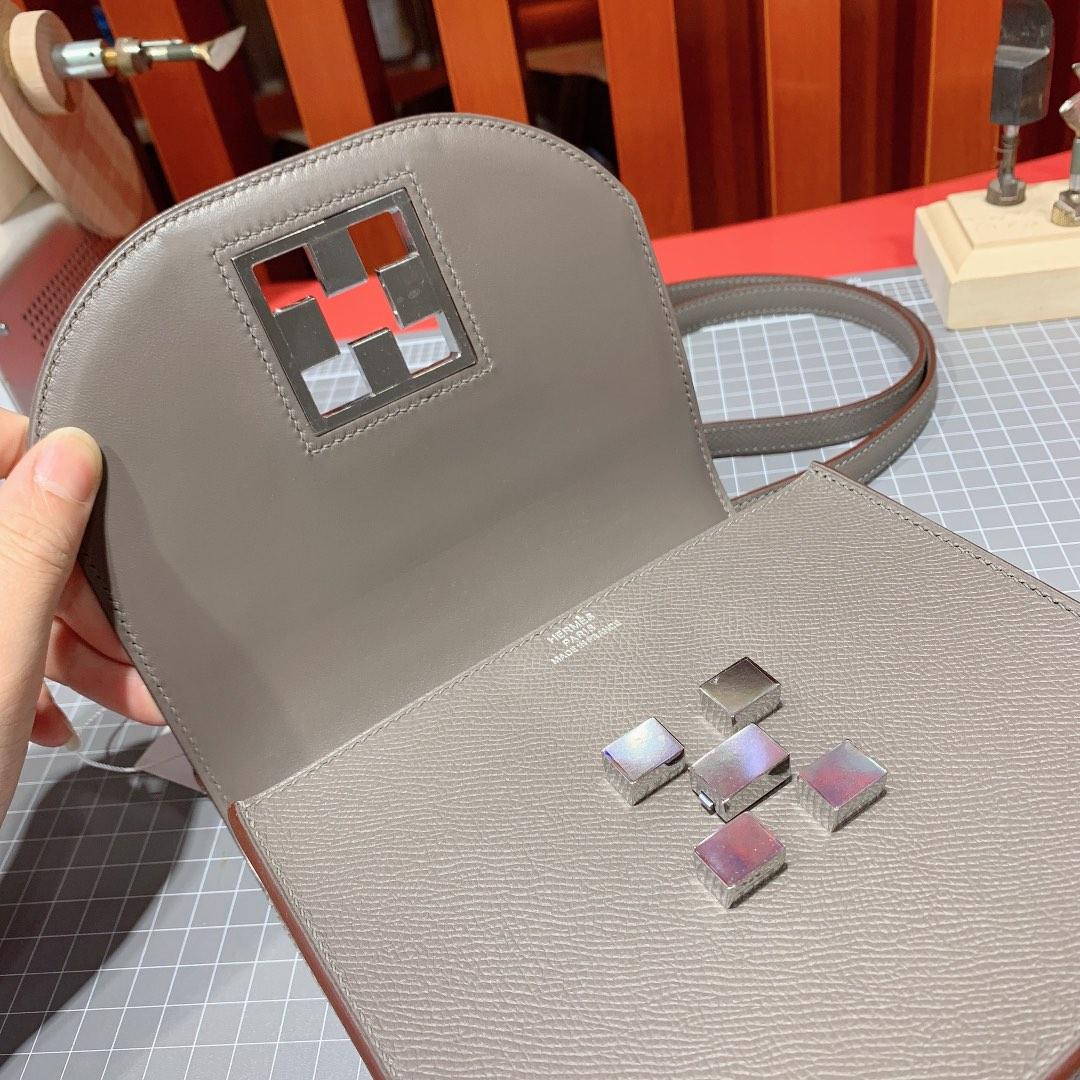 爱马仕新款包包 Hermes Mosaique17CM Epsom皮马赛克包 8F锡器灰 银扣