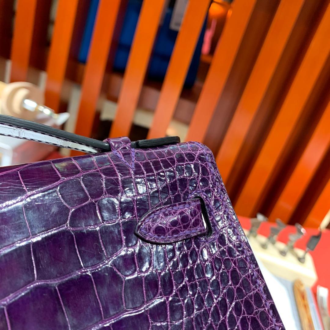 现货 Hermes Minikelly Pochette 爱马仕3V茄子紫亮面鳄鱼皮迷你凯莉包 金扣