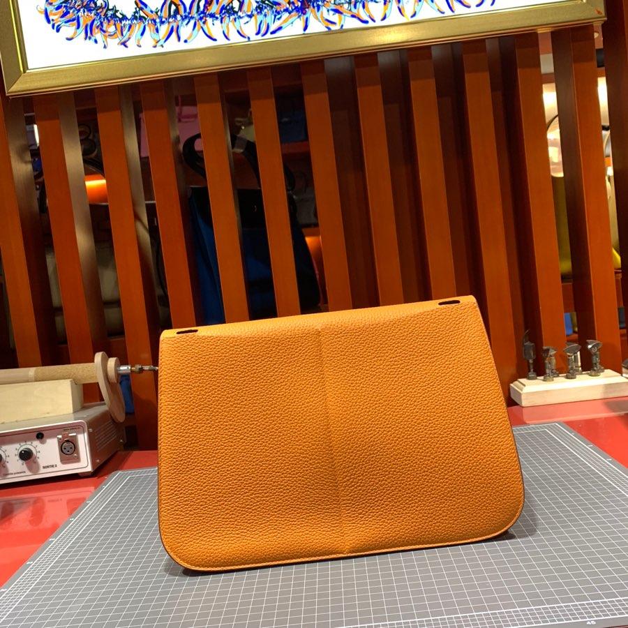 现货 爱马仕马蹄包 Hermes Halzan31CM 橙色进口Tc皮手提单肩包