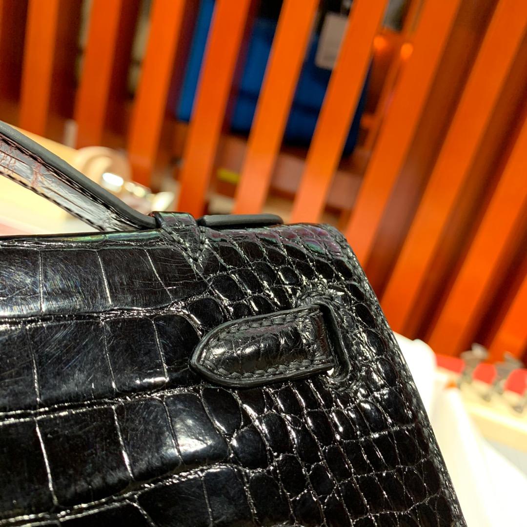 现货 爱马仕迷你凯莉包 Hermes Minikelly22CM 89黑色亮面鳄鱼皮 银扣