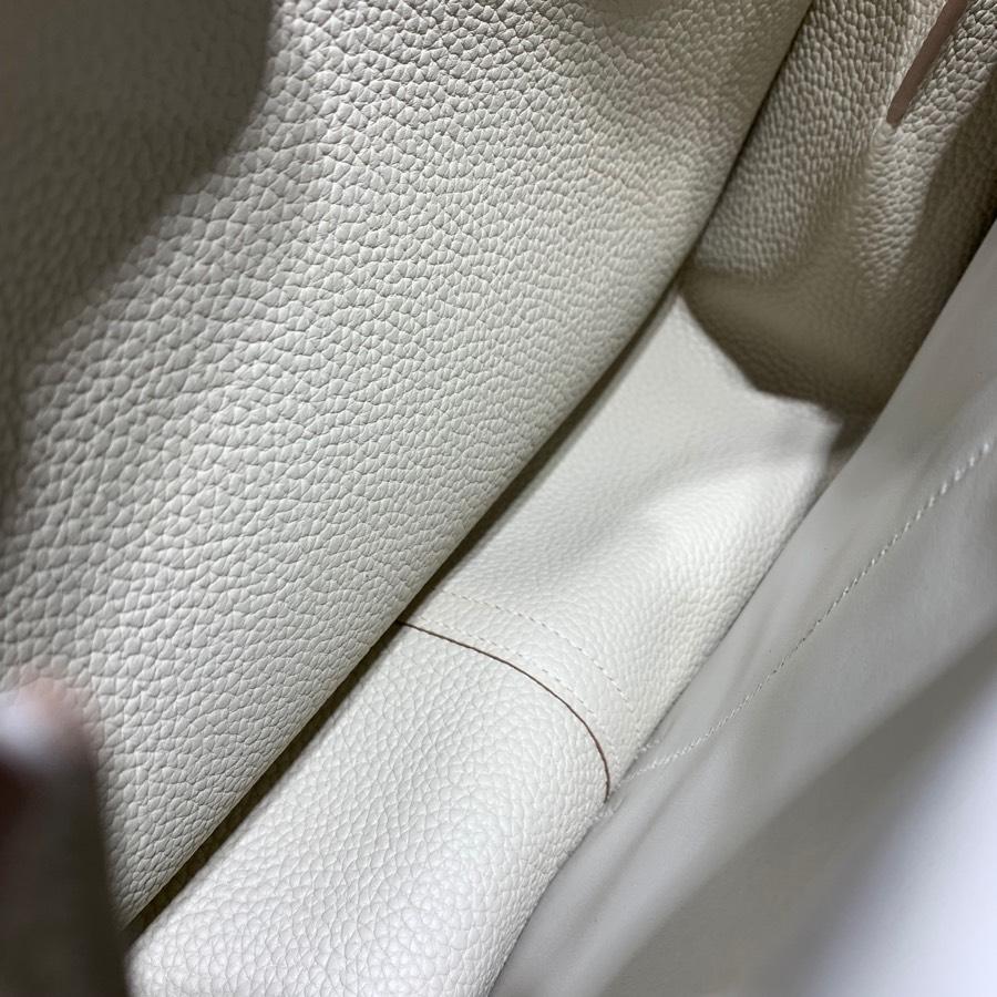 现货 爱马仕Halzan包包31CM Hermes进口Tc皮马蹄包手提包 奶昔白