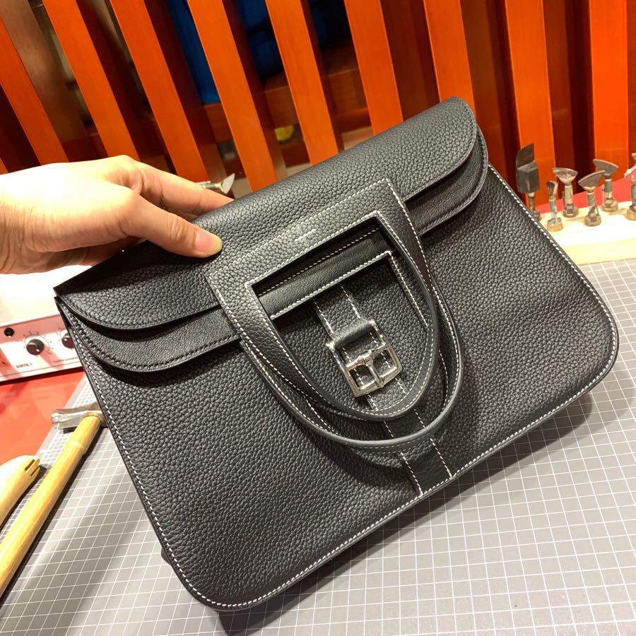 现货 爱马仕马蹄包价格 Hermes Halzan31CM 黑色进口Tc皮手提包