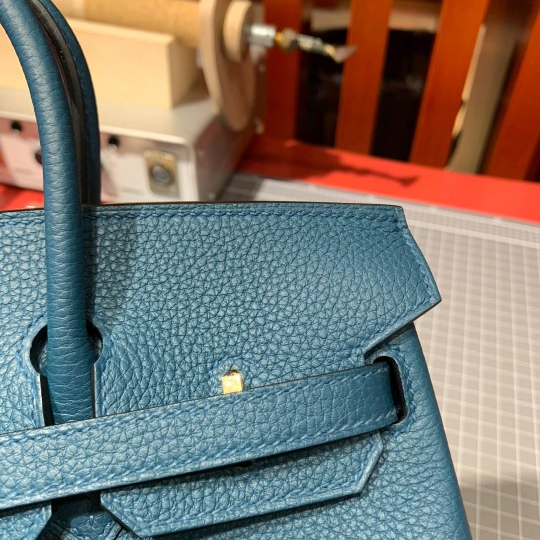 现货 爱马仕Birkin包包 Hermes Birkin25cm W0特斯普鲁斯绿Togo皮 金/银扣