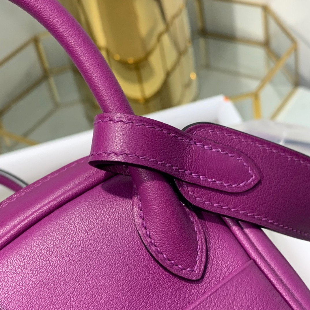 现货 爱马仕迷你琳迪包 Hermes Mini Lindy19cm 海葵紫Swift皮 银扣
