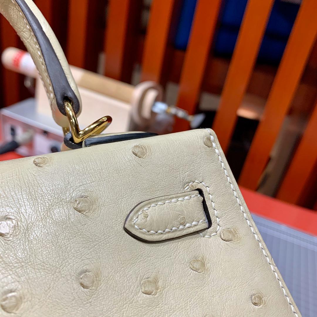 现货 Hermes Kelly25cm 爱马仕南非KK鸵鸟皮凯莉包 羊毛白 金扣