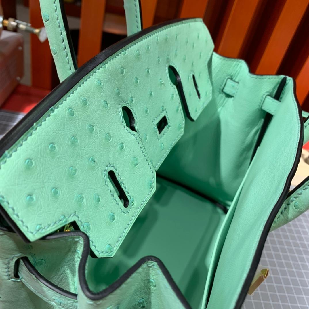 现货 爱马仕铂金包尺寸 Hermes Birkin25CM 冰淇淋绿KK鸵鸟皮 金扣