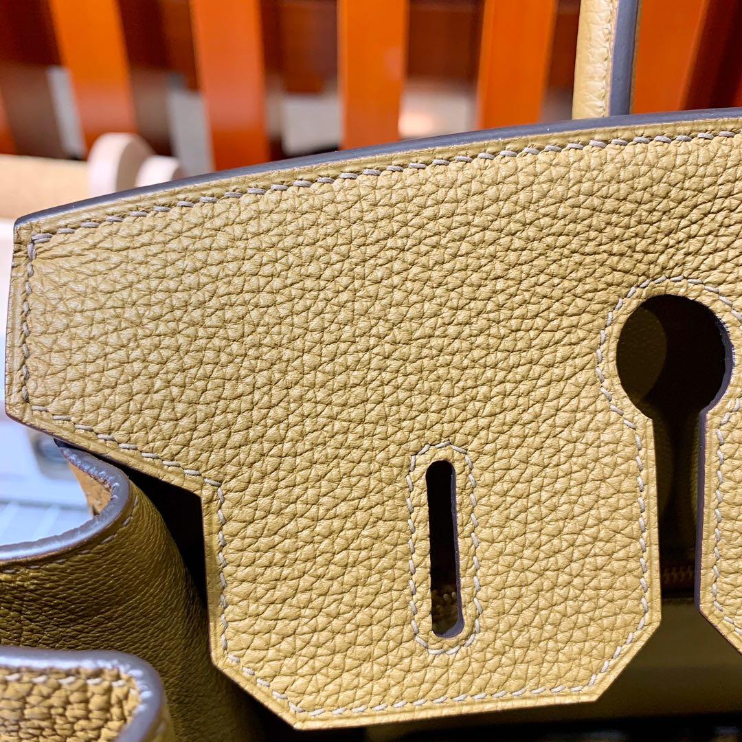 现货 Hermes Birkin30cm 爱马仕D0威玛犬米色Togo皮铂金包 金/银扣